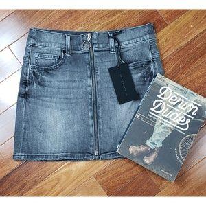 NWT Grey Washed Distressed 5-Pocket Denim Skirt
